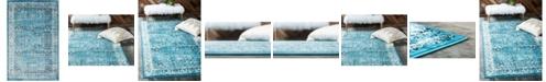 Bridgeport Home Linport Lin1 Turquoise/Ivory 5' x 8' Area Rug