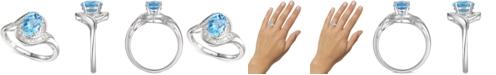 Macy's Blue Topaz (1-3/8 ct. t.w.) & Diamond (1/4 ct. t.w.) Swirl Ring in 14k White Gold