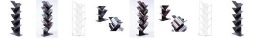 Basicwise Wooden 9-Shelf Tree Magazine CD Storage Bookcase