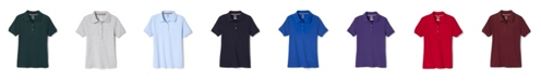 French Toast Big Girls Short Sleeve Interlock Polo with Picot Collar