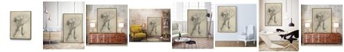 "Giant Art 24"" x 18"" Antique Ballerina Study II Art Block Framed Canvas"
