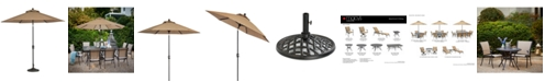 Furniture Beachmont II Outdoor 9' Auto-Tilt Patio Umbrella with Base, Created for Macy's