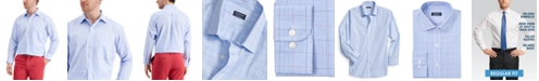 Club Room Men's Classic/Regular Fit Stretch Small Glen Plaid Dress Shirt, Created for Macy's