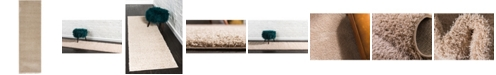 "Bridgeport Home Salon Solid Shag Sss1 Taupe 2' x 6' 7"" Runner Area Rug"