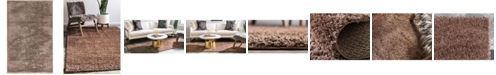 Bridgeport Home Salon Solid Shag Sss1 Brown 5' x 8' Area Rug