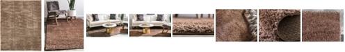 Bridgeport Home Salon Solid Shag Sss1 Brown 8' x 10' Area Rug