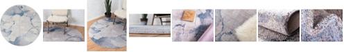 Bridgeport Home Prizem Shag Prz4 Blue Gray 6' x 6' Round Area Rug