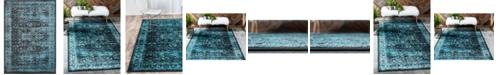 Bridgeport Home Linport Lin1 Turquoise/Black 7' x 10' Area Rug