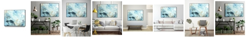 "Giant Art 40"" x 30"" Aqua Wave Form II Art Block Framed Canvas"