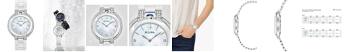 Bulova Women's Rubaiyat Diamond (1/3 ct. t.w.) Stainless Steel and White Ceramic Bracelet Watch 35mm