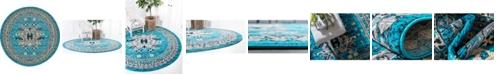 Bridgeport Home Charvi Chr1 Turquoise 8' x 8' Round Area Rug