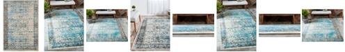 Bridgeport Home Linport Lin1 Ivory/Turquoise 7' x 10' Area Rug