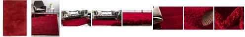 Bridgeport Home Salon Solid Shag Sss1 Red 4' x 6' Area Rug