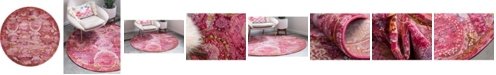"""Bridgeport Home Kenna Ken4 Pink 8' 4"""" x 8' 4"""" Round Area Rug"""