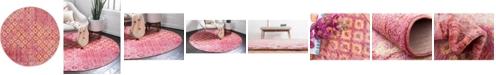 "Bridgeport Home Prizem Shag Prz2 Pink 3' 3"" x 3' 3"" Round Area Rug"
