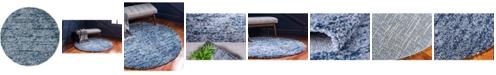 Bridgeport Home Lochcort Shag Loc3 Blue 5' x 5' Round Area Rug