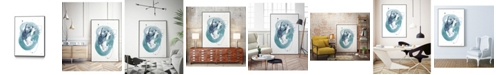 "Giant Art 28"" x 22"" Aqua Orbit IV Art Block Framed Canvas"