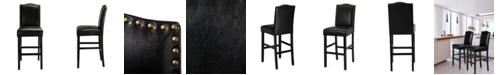"""Glitzhome Set of Two 45"""" H Leatherette Barchair with Studded Decoration and Solid Rubberwood Legs"""