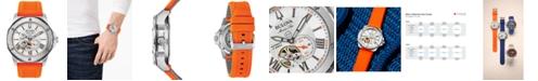 Bulova Men's Automatic Marine Star Orange Silicone Strap Watch 45mm