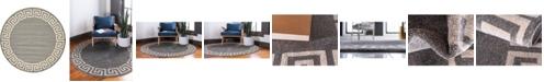 Bridgeport Home Anzu Anz2 Gray 8' x 8' Round Area Rug
