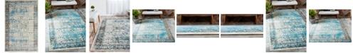 Bridgeport Home Linport Lin1 Ivory/Turquoise 5' x 8' Area Rug