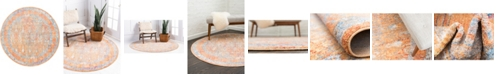 Bridgeport Home Zilla Zil2 Orange 6' x 6' Round Area Rug