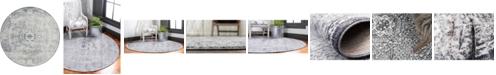 Bridgeport Home Zilla Zil3 Gray 6' x 6' Round Area Rug