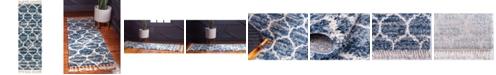 """Bridgeport Home Lochcort Shag Loc1 Blue 2' 2"""" x 6' Runner Area Rug"""