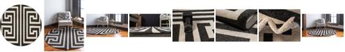 Bridgeport Home Anzu Anz1 Black 8' x 8' Round Area Rug