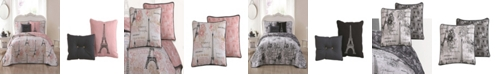 Blush Amour Paris Themed 5pc Queen Reversible Quilt Set