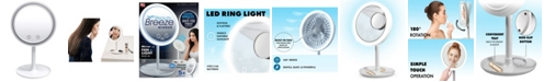 NuBrilliance Beauty Breeze LED Lighted Mirror with Built-In Fan and 5x Magnification