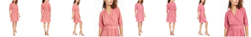 Monteau Petite Belted Faux-Wrap Dress