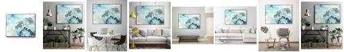 "Giant Art 32"" x 24"" Aqua Wave Form I Art Block Framed Canvas"