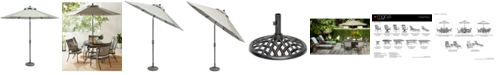 Furniture Vintage II Outdoor 9' Auto-Tilt Umbrella with Base, Created for Macy's