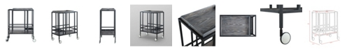 INSPIRED HOME Ron Serving Bar Cart with Metal Frame and Casters