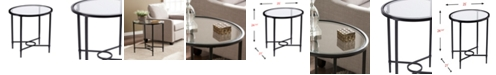 Southern Enterprises Carabella Metal and Glass Oval Side Table