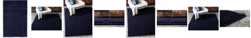 Bridgeport Home Salon Solid Shag Sss1 Midnight Blue 4' x 6' Area Rug