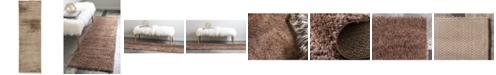 "Bridgeport Home Salon Solid Shag Sss1 Brown 2' x 6' 7"" Runner Area Rug"
