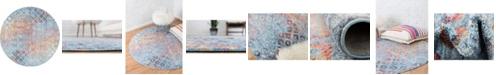 Bridgeport Home Prizem Shag Prz2 Blue 6' x 6' Round Area Rug