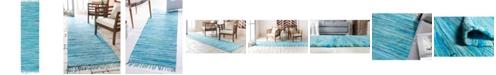 "Bridgeport Home Jari Striped Jar1 Turquoise 2' 7"" x 9' 10"" Runner Area Rug"