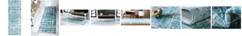 "Jill Zarin Lexington Avenue Uptown Jzu003 Turquoise 2'2"" x 6' Runner Rug"
