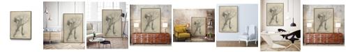 "Giant Art 32"" x 24"" Antique Ballerina Study II Art Block Framed Canvas"