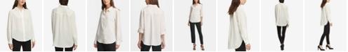 DKNY Cuffed-Sleeve Hidden-Placket Blouse
