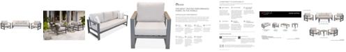 Furniture Aruba Grey Aluminum Outdoor 3-Pc. Seating Set (1 Sofa & 2 Club Chairs) with Sunbrella® Cushions, Created for Macy's