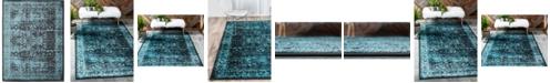 Bridgeport Home Linport Lin1 Turquoise/Black 10' x 13' Area Rug
