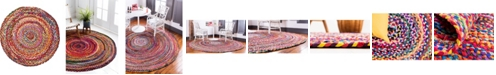 """Bridgeport Home Roari Cotton Braids Rcb1 Multi 3' 3"""" x 3' 3"""" Round Area Rug"""
