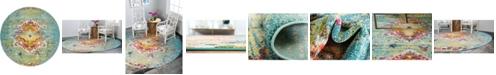 Bridgeport Home Brio Bri9 Turquoise 8' x 8' Round Area Rug