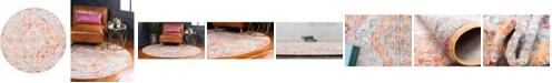 """Bridgeport Home Zilla Zil1 Orange 3' 3"""" x 3' 3"""" Round Area Rug"""