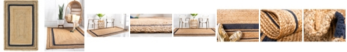 Bridgeport Home Braided Border Brb1 Natural/Navy 4' x 6' Area Rug