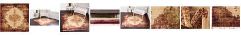 "Bridgeport Home Thule Thu2 Red 4' 5"" x 4' 5"" Square Area Rug"